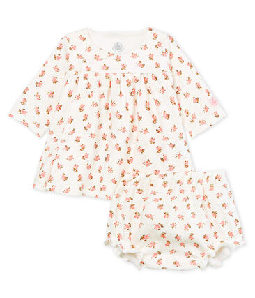 Baby girls' rib knit dress and bloomers Marshmallow white / Multico white