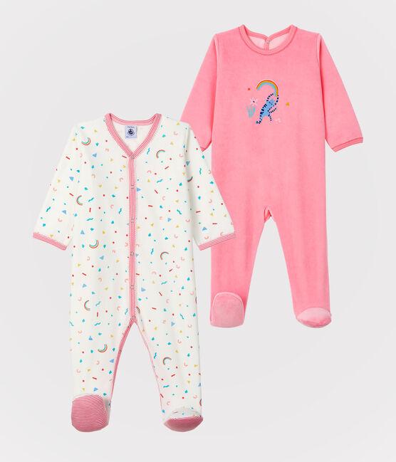 Infant Girls' Velours Sleep Suits - 2-Piece Set . set