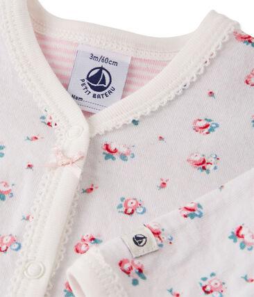 Baby girl's printed tube knit sleeper Bocal blue / Multico white
