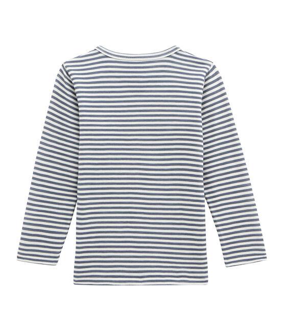 Little boy's long sleeved tee-shirt Turquin blue / Marshmallow white