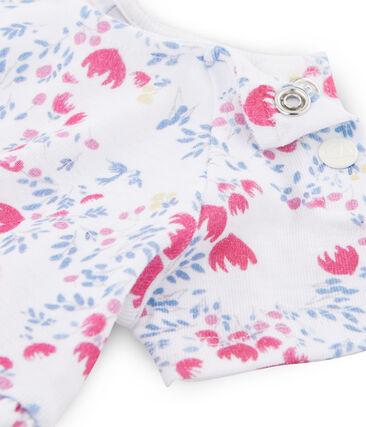 Baby girls' printed dress Ecume white / Bleu blue