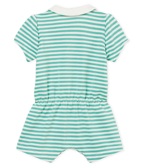 Baby girls' striped polo shirt shortie Aloevera green / Marshmallow white