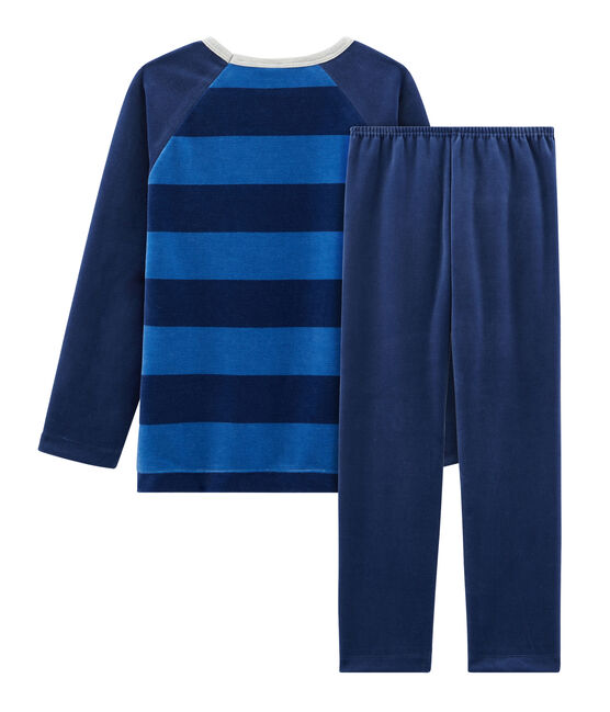 Boys' Velour Pyjamas Medieval blue / Major blue