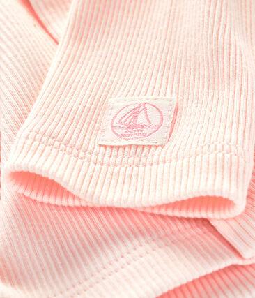 Cardigan bébé en côte 2x2 Fleur pink