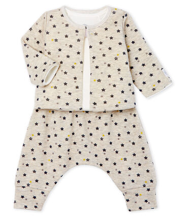 Baby Boys' Wool/Cotton Clothing - 3-piece set Montelimar beige / Multico white