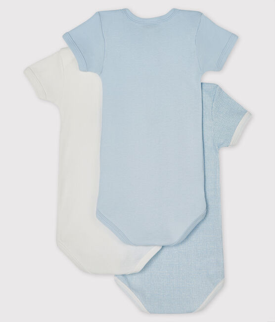 Baby Boys' Blue and White Short-Sleeved Bodysuit – 3-Piece Set . set