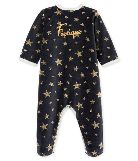 Baby Girls' Velour Sleepsuit Capecod grey / Or yellow