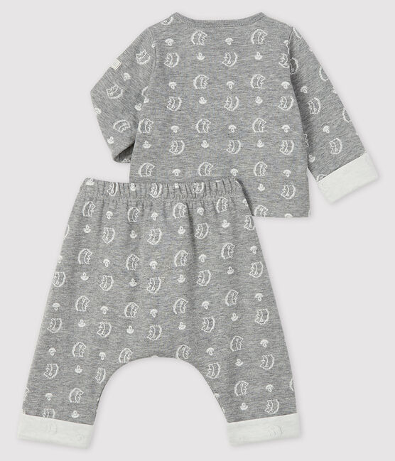 Baby's Patterned Weave Tube Knit Two-Piece Subway grey / Marshmallow white