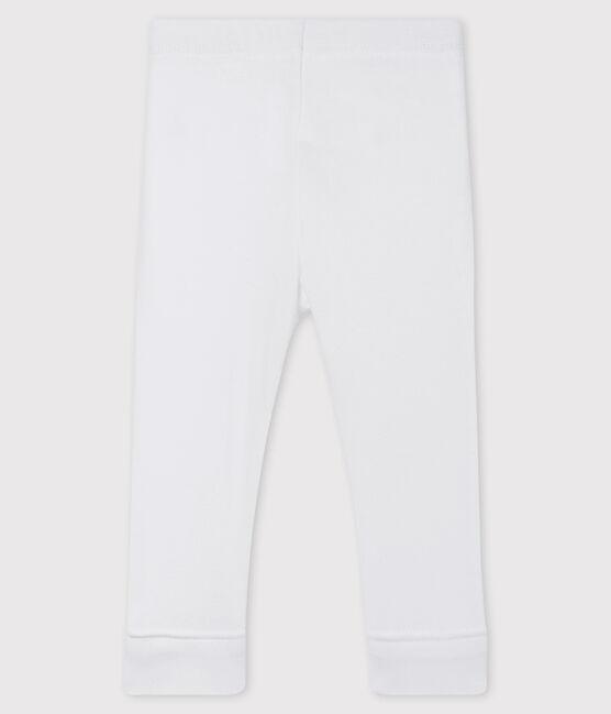 Baby girl's leggings in plain 1x1 rib knit Marshmallow white