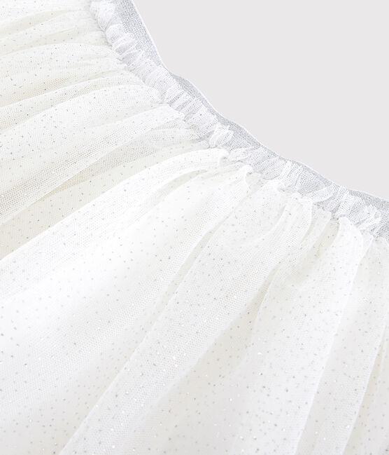 Girls' Glittery Tulle Skirt Marshmallow white / Argent grey