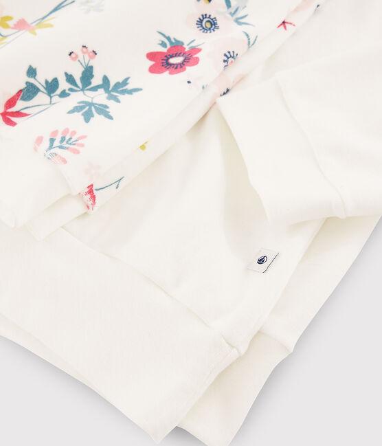 Girls' or Women's Floral Dual-Material Pyjamas Marshmallow white / Multico white
