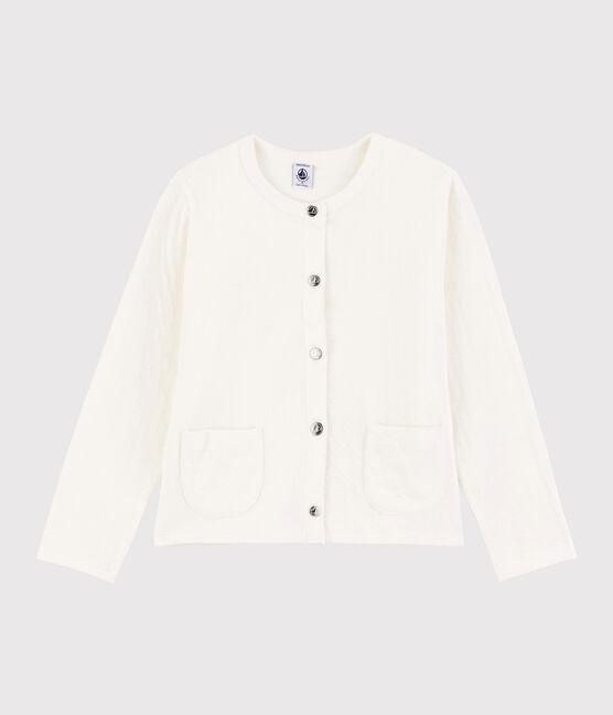 Girls' Tube Knit Cardigan Marshmallow white