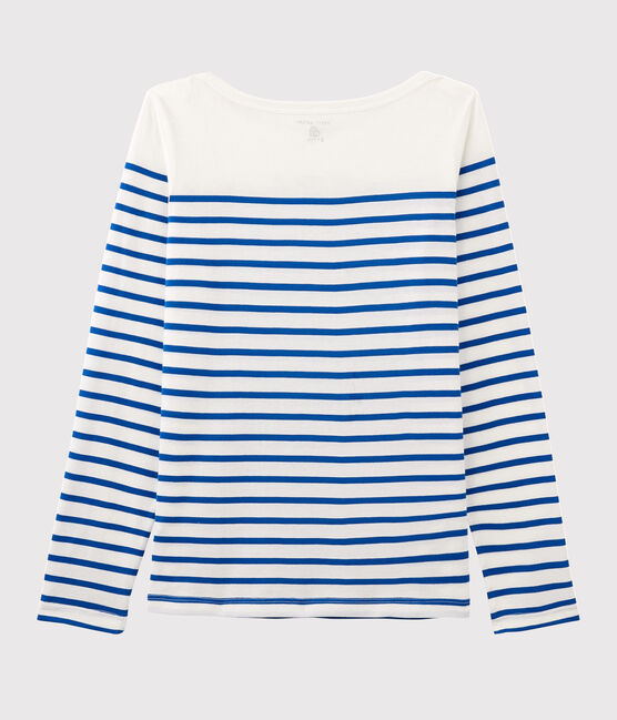 Serge Bloch women's Breton top Marshmallow white / Perse blue