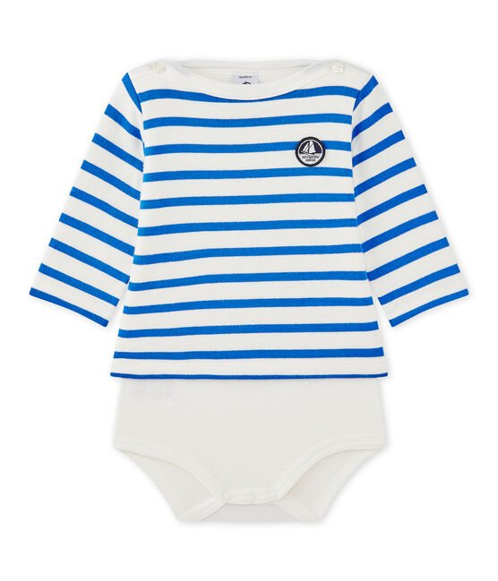 Baby's long-sleeved sailor-style bodysuit Marshmallow white / Perse blue