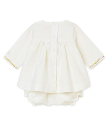 Baby girl's dress and bloomers Marshmallow white