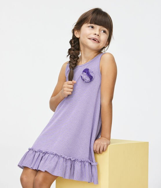 Girls' Dress Real purple / Marshmallow white