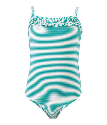 Girl's striped one-piece swimsuit