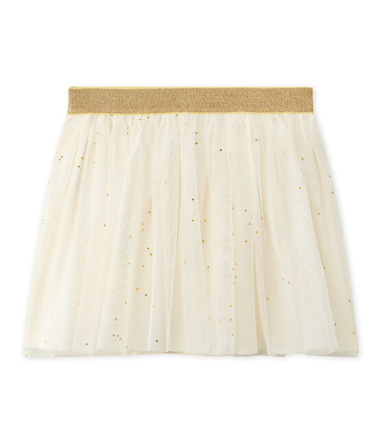 Girl's tulle skirt with stars Coquille beige / Dore yellow