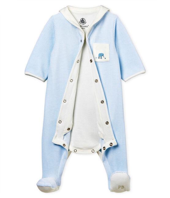 Baby boys' pinstriped velour bodyjama Fraicheur blue / Ecume white