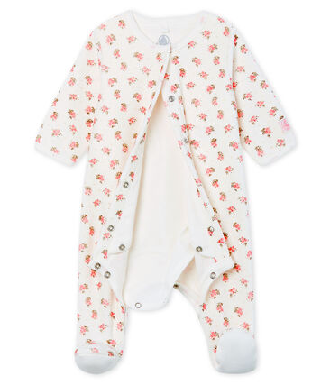 Baby Girls' Velour Bodyjama Marshmallow white / Multico white
