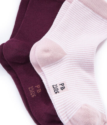 Set of 2 pairs of socks, coloured and striped