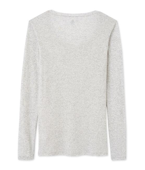 T-shirt femme manches longues col danseuse en coton léger Beluga Chine grey