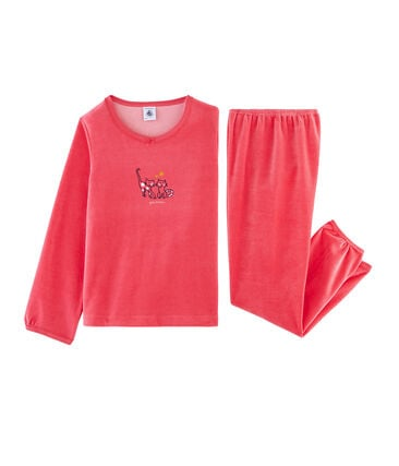 Girls' Velour Pyjamas Signal red