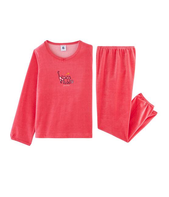 Girls' Velour Pyjamas Signal red