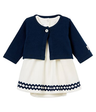Baby girls' dress/bodysuit and cardigan