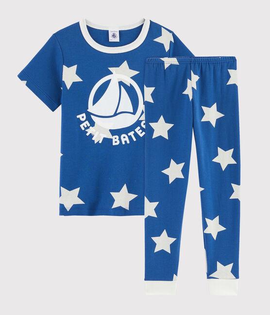 Children'Starry Print Ribbed Pyjamas Major blue / Ecume white