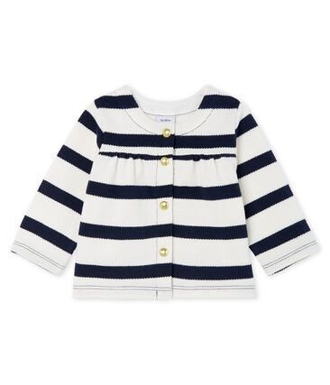 Baby girls' breton striped cardigan