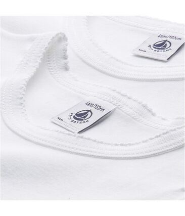 Pack of 2 girl's plain T-shirts with cocotte stitch finish