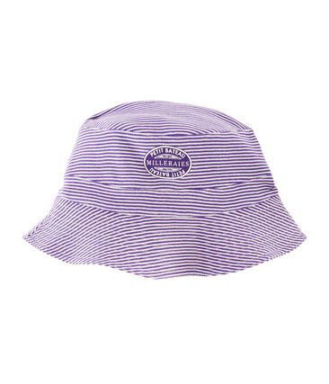 Women's reversible rib knit bucket hat Marshmallow white / Real purple