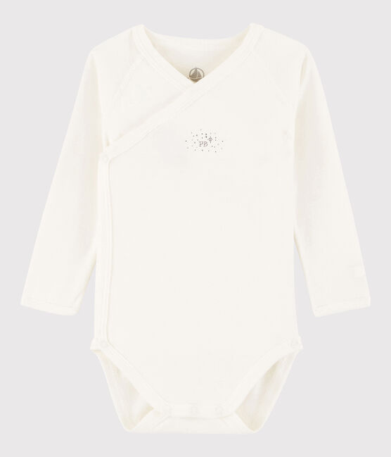 Unisex Babies' Short-Sleeved Wrapover Bodysuit Marshmallow white