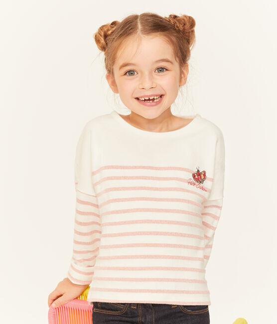 Girls' breton Top Marshmallow white / Joli Brillant pink