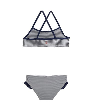 Girls' Two-Piece Swimsuit Abysse blue / Lait white