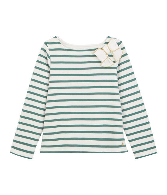 Girl's Sailor Top with Bow Marshmallow white / Brut blue