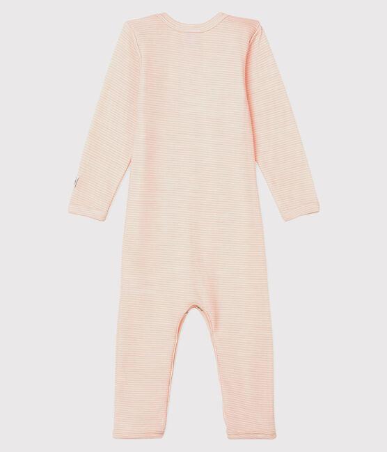 Babies' Striped Long Bodysuit in Cotton/Wool Charme pink / Marshmallow white