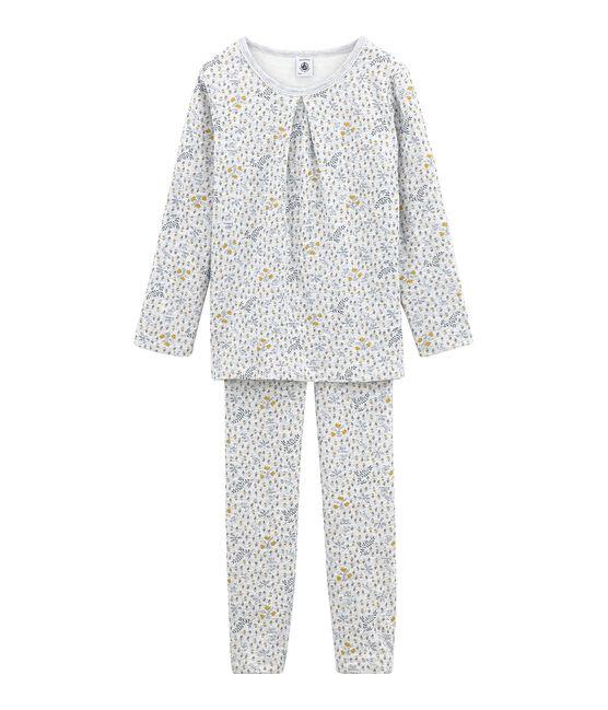 Girls' Tube Knit Pyjamas Poussiere grey / Multico white