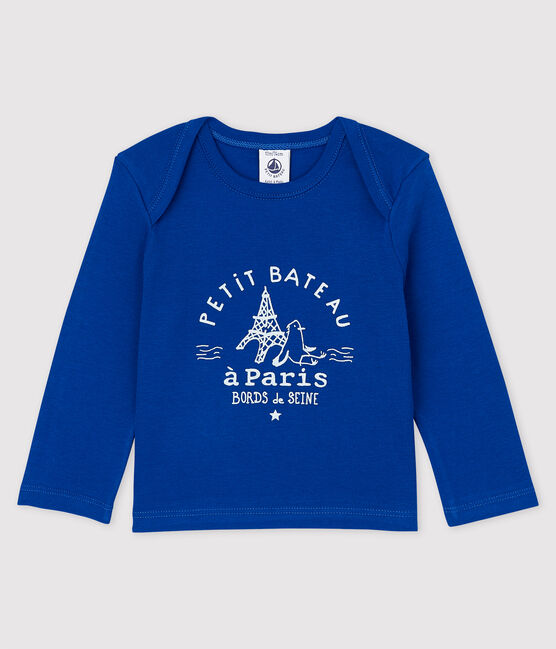 Baby Boys' Long-Sleeved Cotton T-Shirt Surf blue