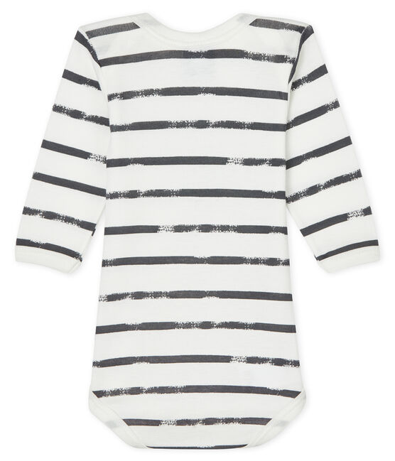 Baby boys-girls' long-sleeved bodysuit Lait white / Maki grey