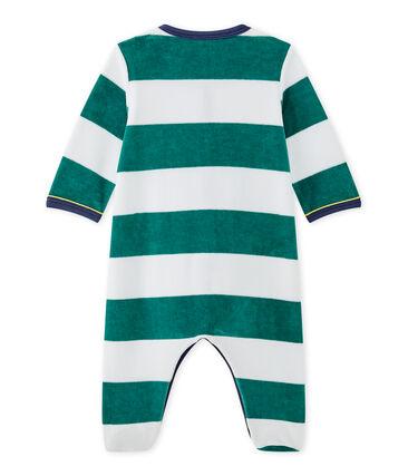 Baby boys' striped velour sleepsuit