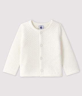 Baby girl's tubular knit cardigan Marshmallow white