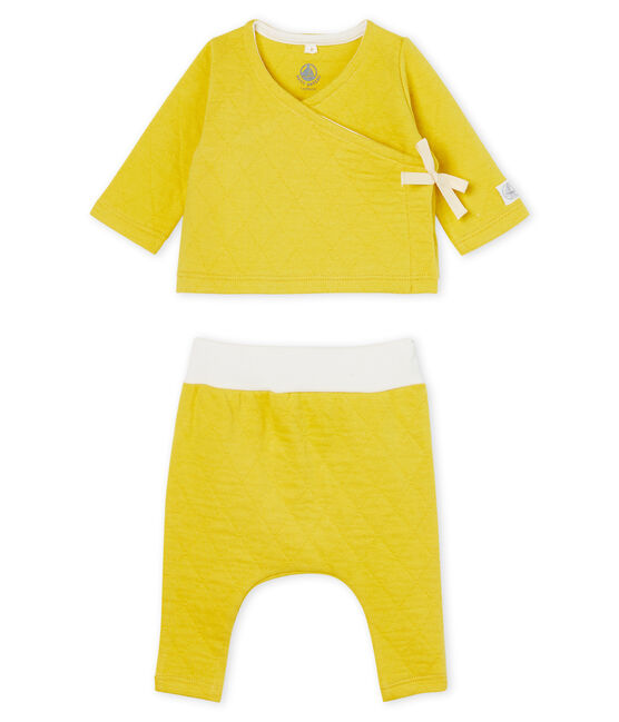 Babies' Tube Knit Clothing - 2-piece set Ble yellow