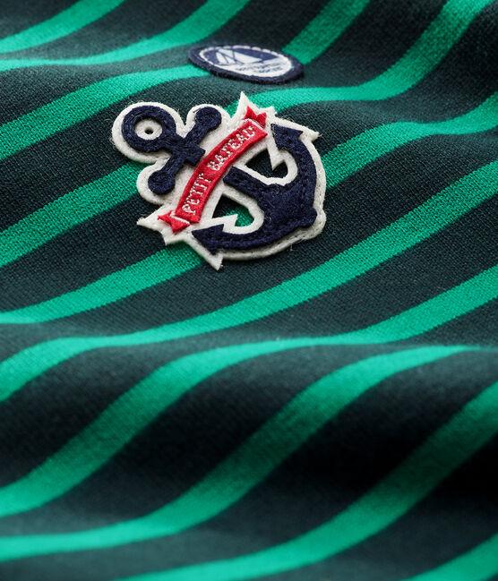Upcycled baby boys' long-sleeved Breton top Sherwood green / Multico white