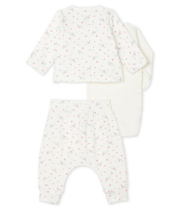Unisex Baby's Tube Knit Clothing - 3-Piece Set Marshmallow white / Multico white