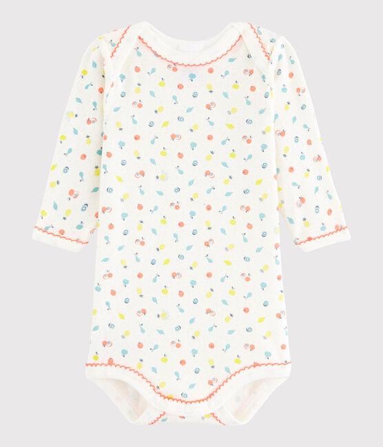 Baby Girls' Long-Sleeved Bodysuit Lait white / Multico white