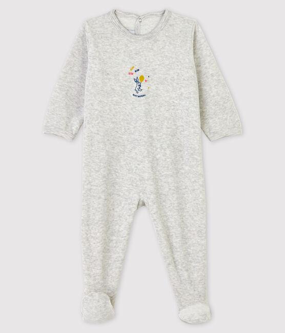 Babies' Marled Grey Velour Sleepsuit Beluga grey