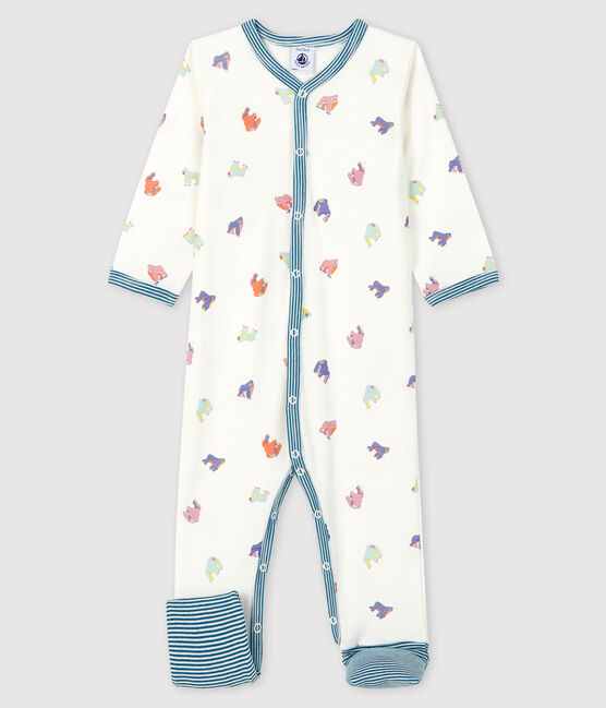 Baby Girls' Footless Gorilla Print Ribbed Sleepsuit Marshmallow white / Multico white
