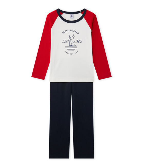 Boy's silkscreen print pyjamas Smoking blue / Lait white